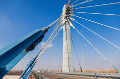 Cable bridge through Samara River, Russia Royalty Free Stock Images