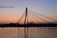 Cable bridge at a sunset Stock Photos