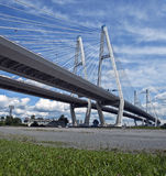 Cable bridge. Cable (suspension, guyed) bridge at sunny day Stock Photos