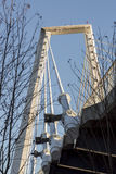 Cable Bridge in Umeå, Sweden. With blue sky stock image