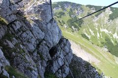 Cable bridge in wall of Heli - Kraft - Klettersteig, Hochkar. Austria Royalty Free Stock Images