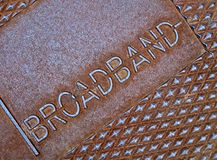 Cable broadband as text on metal, television, Stock Images
