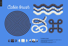 Cable brush set. Cable brush - rope element vector brush with end elements, and few usage examples - knots, loops, frames Stock Images