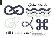 Cable brush set. Cable brush - rope element vector brush with end elements, and few usage examples - knots, loops, frames Stock Image