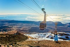 Cable cabin car on the top of volcano Teide Stock Photos