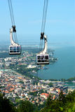 Cable Car. The cable car to the Pfaender mountain (Bregenz, Austria). In the background is the Lake Constance Stock Photo