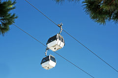 Cable car. Two Cable car with the blue sky as background Royalty Free Stock Photography