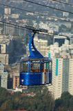 Cable car. Empty cable car and city Stock Photography