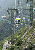 Cable car. Over head cable cars hanging and running on the high mountain Royalty Free Stock Photography