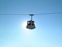 Cable car. And passenger silhouetted against low evening sun in the French ski resort of Font Romeu Stock Photos