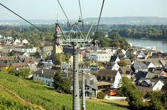 Cable Car. Looking over river rhine and rudesheim germany Royalty Free Stock Photography