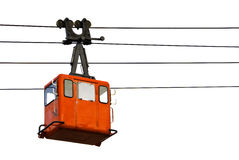 Cable car. On wires isolated on white Stock Images