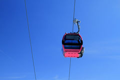 Cable car. (aerial tramway) with clear blue sky Royalty Free Stock Photography