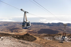 Cable Car. To the highest Spanish mountain volcano El Teide  on Tenerife Island Royalty Free Stock Photo