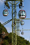 Cable car. The picture was taken at Ocean Park, Hangkong, on Dec 14th,2012. The cableway links the two parts of the park, one is at the foot of the hill and the Royalty Free Stock Photography