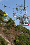 Cable car. The picture was taken at Ocean Park, Hangkong, on Dec 14th,2012. The cableway links the two parts of the park, one is at the foot of the hill and the Royalty Free Stock Photos