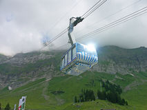 Cable car. The cable car rises in mountains Stock Photography