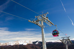 Cable car. Gondola in winter Royalty Free Stock Images