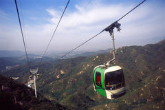 Cable car. Transportation: a green cable-car cabin Stock Photo
