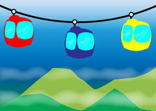 Cable car. Illustration of cable car at the mountain with cloudy skies Stock Photos