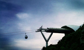 Cable car. A Cable car coming out of the station Royalty Free Stock Photo