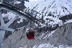 Cable car. The cable car going down to the mer de glace, the most famous glacier in the french alps royalty free stock photo