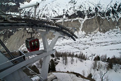 Cable car. The cable car going down to the mer de glace, the most famous glacier in the french alps royalty free stock image
