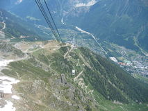 Cable car above Chamonix, France Royalty Free Stock Image