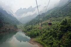 Cable car above Heaven-Linking Avenue in Tianmen Stock Images
