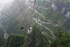 Cable car above Heaven-Linking Avenue in Tianmen m Royalty Free Stock Photo