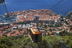 Cable Car above the old town Dubrovnik. Connects old town and hill Srd royalty free stock image