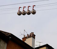 Cable car  above the roofs of Grenobl. Grenoble's Les Bulles, the landmark telepherique for tourist transportation to the Bastille Stock Image