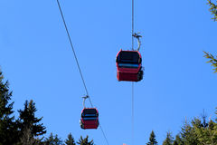 Cable car. Above trees with blue sky Royalty Free Stock Photography
