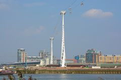 Cable car across River Thames at Greenwich, London, England Stock Image