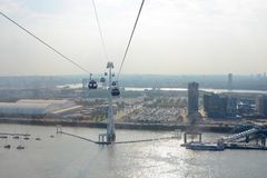 Cable car across River Thames at Greenwich, London, England Royalty Free Stock Photography