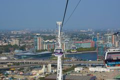 Cable car across River Thames at Greenwich, London, England Royalty Free Stock Photo