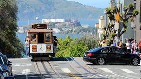 Cable car and Alcatraz island in San Francisco, USA, stock video