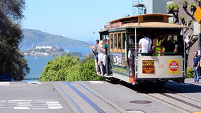 Cable car and Alcatraz island in San Francisco, USA, stock footage