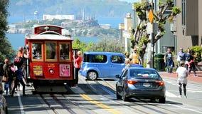 Cable car and Alcatraz, San Francisco, USA, stock video footage