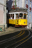 Cable car in Alfama, old quartier of Lisbon Royalty Free Stock Photography