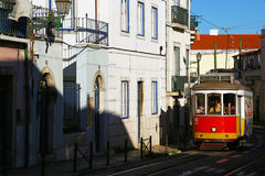 Cable car in Alfama quartier of Lisbon, Portugal Royalty Free Stock Photo