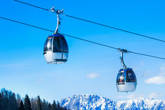 Cable car in the Alps. Royalty Free Stock Photo