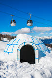 Cable car in the Alps. Calbe car and plastic igloo in mountain ski resort Nassfeld, Austria Royalty Free Stock Photos