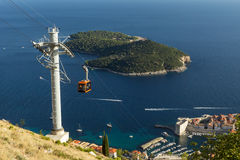 Cable Car And Lokrum Island In Dubrovnik Royalty Free Stock Photos
