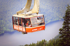 Cable car approach to the top of Grouse mountain. Stock Images