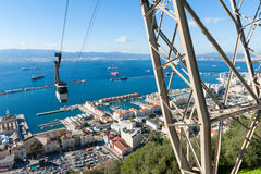 Cable Car approaching Rock of Gibraltar Stock Photo