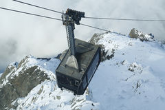 Cable car arriving to Auguille du Midi Stock Photos