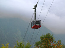 Cable car arriving to Auguille du Midi from Chamonix Stock Images