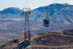Cable car ascending Teide. Tenerife, Spain. Royalty Free Stock Photography