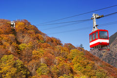 Cable car in autumn, near Nikko, Japan Stock Photo
